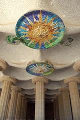 A ceiling to behold (korayatasoy) Tags: barcelona park architecture spain mosaic bcn columns catalonia espana tiles gaudi carmel catalunya guell parc antoni catalan gracia doric gell catalunia mozaik barselona ispanya kolonlar
