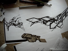 . (.parsprototo*) Tags: pasteup collage logo graffiti sketch stencil sticker graphic drawing cardboard photocopy typo bielefeld acrylics 2007 inck