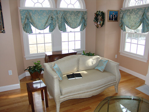 Butterfly Shade or London Shade Uphosterd Camel Back Love Seat with Toss Pillows