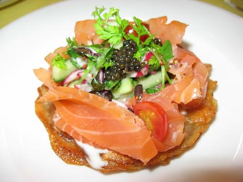 ... Potato latkes with smoked salmon, caviar and creme fraiche (my share