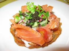Pierre Hermé: Potato latkes with smoked salmon, caviar and creme fraiche