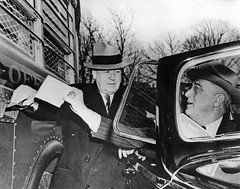 President Franklin D. Roosevelt Deposits Letter into Highway Post Office Bus