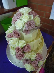 White chocolate & fresh roses wedding cake (Louisa Morris Cakes) Tags: pink flowers wedding roses white cakes cake chocolate australia victoria fresh morris couture louisa wahgunyah louisamorriscakes flowersnaturally