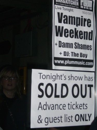 Vampire Weekend Sign: Hoxton Bar and Grill