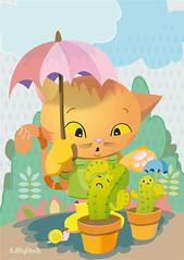 Regen (bubblefriends) Tags: friends flower cute cat happy colourful rubberboots bubblefriends bubblebone