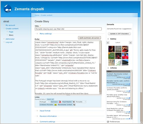 Zemanta running on Drupal
