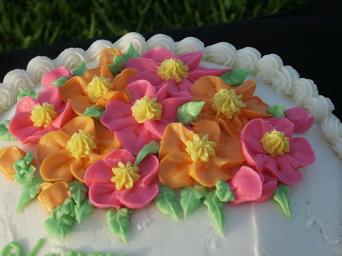 Carrot Cake Cream Cheese Frosting Bright Flowers Basketweave (9)