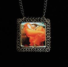 Flaming June Art Pendant Necklace (heartworksbylori) Tags: orange woman art painting square necklace dress sleep jewelry muse chain master frame brass reproduction pendant waterhouse flamingjune preraphaelite filigree artjewelry vintageinspired heartworksbylori
