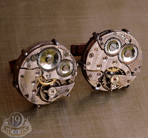 KRONOS Steampunk Vintage Watch Movement Cufflinks by 19 Moons ECO FRIENDLY - UNIQUE - INDUSTRIAL