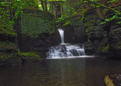 Sheltered (Nicholas_T) Tags: summer creek waterfall lowlight stream hiking pennsylvania falls creativecommons poconos ravine pikecounty delawarewatergapnationalrecreationarea delawaretownship adamscreek