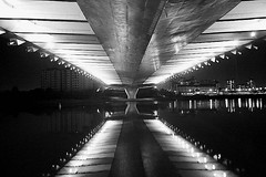 Under the Bridge II (LINCOLNOSE2) Tags: lighting reflection architecture blackwhite nightscape geometry malaysia putrajaya canonefs1855mm blackdiamond underthebridge digifoto canoneos400d omot sriwawasan anawesomeshot fabulousflicks lincolnose22008 flickrlovers blackwhitediamondawardsgallery