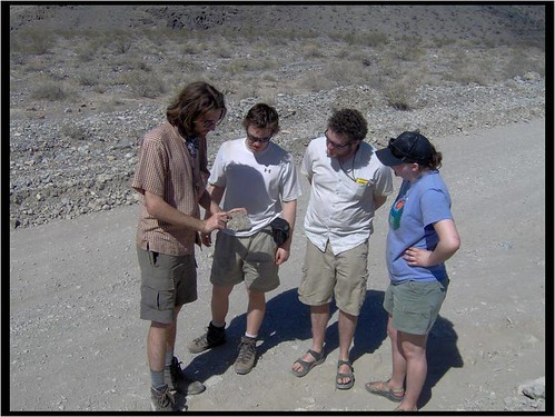 Geologists Barry Walker, Russell Rosenberg, Luc Farmer and Lauren Foiles. This is possibly a staged photograph.