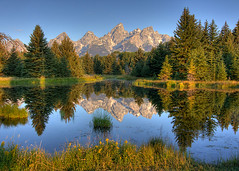 Beaver Pond Reflection (Jeffrey Sullivan) Tags: park copyright usa mountains reflection jeff nature sunrise canon landscape dawn photo bravo grand national wyoming sullivan teton 2008 allrightsreserved alpenglow naturesfinest schwabacherslanding 40d absolutelystunningscapes