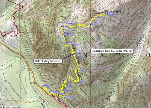 Mt Dickerman route map.