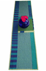 Mid-Century Inspired Table Runner/Wall Hanging Art Quilt (BooDilly's) Tags: blue green art modern design contemporary form quilts tablecloth stripped interiordesign functional placesetting minimalist midcentury wallhanging artquilt tablerunner dresserscarf sillyboodilly