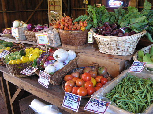 Produce from Blue House Farm at the Pie Ranch Farmstand