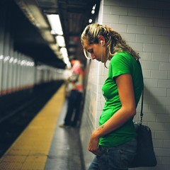 A Girl in the Subway (Inside_man) Tags: green 120 6x6 mamiya tlr c220 film colors mediumformat subway waiting colorful bokeh manhattan squareformat contemplation portravc sideportrait listeningtothemusic agirlinthesubway