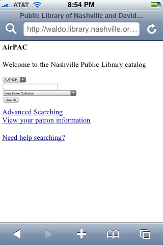 Nashville Public Library catalog - search