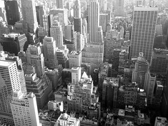 New York City In Black and White From Rockefeller Center (BostonCityWalk) Tags: nyc newyorkcity sky urban white newyork black architecture clouds buildings cityscape rooftops towers rockefellercenter midtown highrise topoftherock 30rock observationdeck gracebuilding