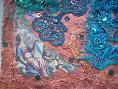 Detail Angel at work 2 (Karen Cattoire) Tags: original art texture collage angel beads acrylic handmade lace originalart silk creation fabric fiberart beading fibers acrylicpaint textileart tissu abstrait textiledart karencattoire fibretextile arttexilte