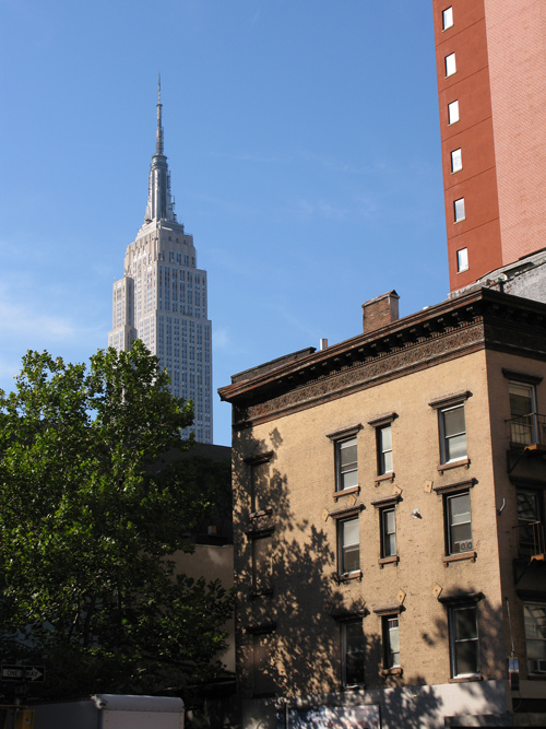 the Empire State Building in composition with other buildings and a tree, Manhattan, NYC