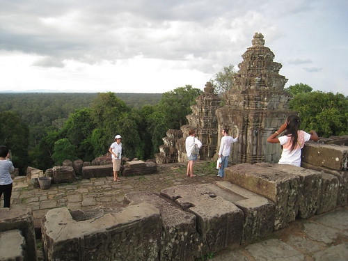 View of countryside from atop temple at sunset