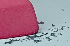 Corrections (baissie) Tags: pink blue words eraser edit erasing papermate pinkpearl macromondays
