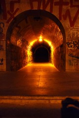 Into the Tunnel (Gilderic Photography) Tags: street city light shadow summer orange beach portugal stone wall architecture night writing dark lumix fire gold graffiti europe stair perspective tunnel panasonic explore step passage estoril pansonic mywinners gilderic aplusphoto ilustrarportugal srieouro dmctz4
