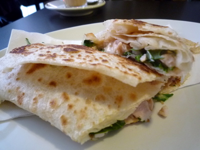 Thai chicken roti wrap