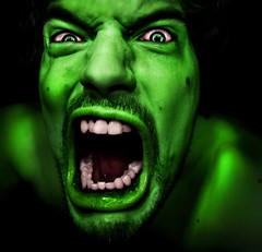 """Hi, my name is HULK, Im your Anger Management Coach..."" (urline) Tags: light shadow portrait selfportrait cute green me monster self dark licht insane comic head bad anger rage bse psycho portraiture scream hate angry superhero mean grn hulk wut schatten wrath selbstportrait greenmonster zorn kopf schrei hass superheld urline aplusphoto florianoehrlein myfuckoffface"