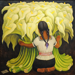 """The Flower vendor (Girl with Lilies)"" by Diego Rivera (mark6mauno) Tags: flower simon girl museum painting nikon with grant diego norton lilies oil diegorivera vendor pasadena nikkor cary rivera d3 carygrant masonite nortonsimonmuseum nikond3 2470mmf28g"