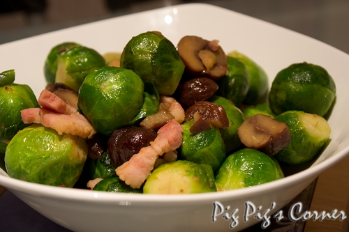 Brussels Sprouts with Chestnuts & Bacon Lardon