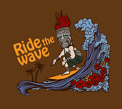 Tiki Shirt: Ride the Wave (shaire productions) Tags: flowers brown flower art nature silhouette shirt illustration fun design clothing artwork graphics surf pattern ride graphic natural drawing surfer arts shapes silhouettes drawings wave tshirt surfing halftone designs forms illustrator form draw drawn shape tiki tee figures vector apparel illustrate polynesian ridethewave sherriethai shaireproductions