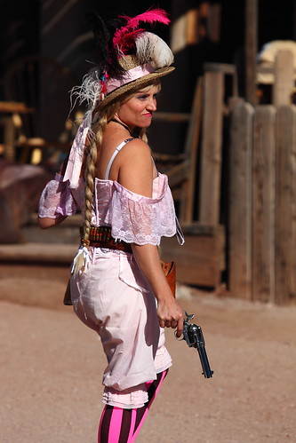 """Do it again Anny"" Lady Gun Fighter with revolver drawn and cocked"