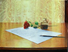 """The Letter"" An Acrylic Painting (Elizabethc) Tags: light red stilllife sunlight art leaves rose pen ink writing reflections painting table wooden words stem artist acrylic elizabeth shadows lace michigan letter curtains sensational quill visualart crabtree battlecreek inkbottle supershot bej abigfave visualconcept theunforgettablepictures goldstaraward rubyphotographer elizabethcrabtree crabtreeoriginals"