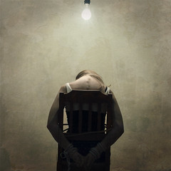 the interrogation (brookeshaden) Tags: selfportrait texture lightbulb death chair grunge lies innocent rope burn crime squareformat whip law spine tied defeat secrets crooked guilt interrogation nikond80