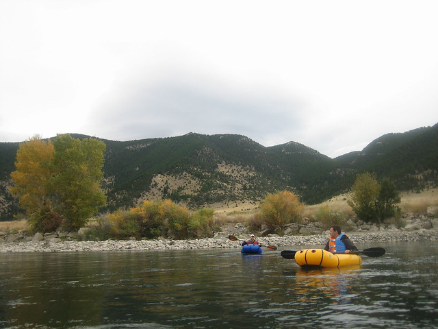 Ryan Jordan, Andrew Skura, packrafting the Yellowstone River