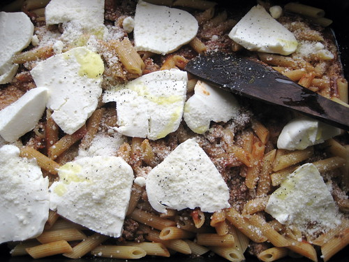 delicious beef & sausage baked ziti