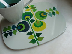 coaster (doni's delis) Tags: flowers blue green leaves metal coaster tablemat worcesterware