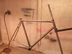 My first frame is at the Painters! (evershedm) Tags: building steel frame lug lugs lugged daustincustomcycles