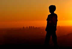 He Sees Golden Light (TJ Scott) Tags: sunset silhouette golden smog losangeles santamonica flare cinematic magichour firstquality aplusphoto tjscott oraclex