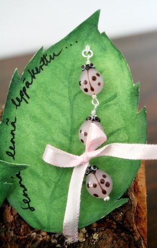 Pink Triple-Ladybird pendant