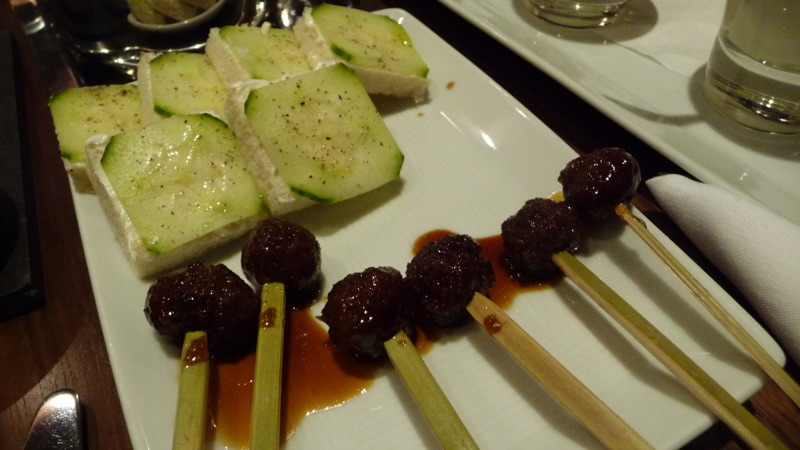 Cuke sandwiches, duck meatballs at Dovetail