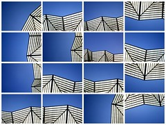 Oriente Station - Collage (GatheringZero) Tags: blue sky white abstract black lines collage lisboa lisbon oriente vectors linear garedooriente