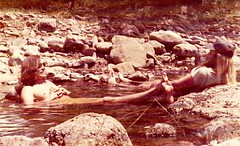 Hippies skinny dipping, Davis Mountains, Texas, 1975 (spysgrandson) Tags: camping mountains pool hippies canon stream texas desert tripod 1975 skinnydipping davismountains mountainstream canonf1 naturalpool august1975 desertstream