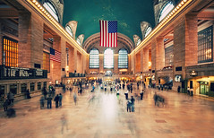 New York City - Grand Central Terminal (Philipp Klinger Photography) Tags: new york city nyc newyorkcity trip travel windows light shadow vacation people orange usa sun holiday ny newyork motion blur travelling green window station yellow america train stars photography hall us photo nikon unitedstates angle state manhattan stripes flag united unitedstatesofamerica ghost escalator north central wide entrance grand wideangle terminal ceiling traveller midtown empire grandcentralstation empirestate states philipp sigma1224mm gct grandcentralterminal starsstripes staaten midtownmanhattan klinger vereinigte of d700 movemont