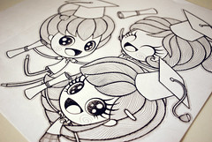 CAT (Anita Mejia) Tags: school boy cute girl kids illustration cat graduacion graduation ilustracion chocolatita anitamejia