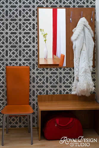 Small Camel Bone Weave Wall Stencil by Royal Design Studio