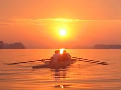Varsity men rowing (Leya :P) Tags: orange sun water sport skyline sunrise landscape athletic team action rowing sportteam mywinners