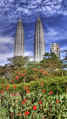 The Petronas Towers and the Lake Garden (Stuck in Customs) Tags: lighting flowers light red sky panorama lake green art texture nature colors look grass modern clouds reflections garden painting photography amazing intense nikon perfect exposure downtown artist mood photographer details petronas towers perspective atmosphere malaysia pro kuala tones kl hdr lumpur malay famouscities stuckincustoms treyratcliff